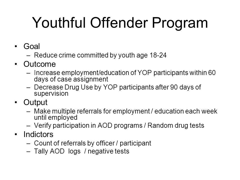 Youthful Offender Program Goal –Reduce crime committed by youth age 18-24 Outcome –Increase employment/education of YOP participants within 60 days of case assignment –Decrease Drug Use by YOP participants after 90 days of supervision Output –Make multiple referrals for employment / education each week until employed –Verify participation in AOD programs / Random drug tests Indictors –Count of referrals by officer / participant –Tally AOD logs / negative tests
