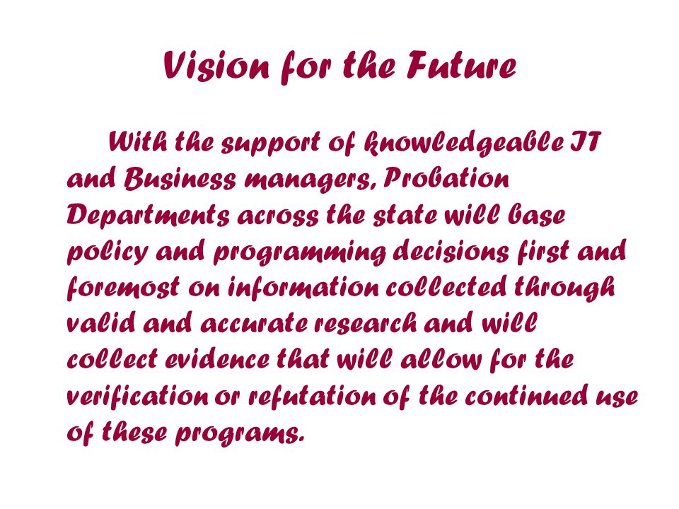 Vision for the Future With the support of knowledgeable IT and Business managers, Probation Departments across the state will base policy and programming decisions first and foremost on information collected through valid and accurate research and will collect evidence that will allow for the verification or refutation of the continued use of these programs.