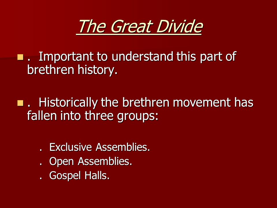 Important to understand this part of brethren history..