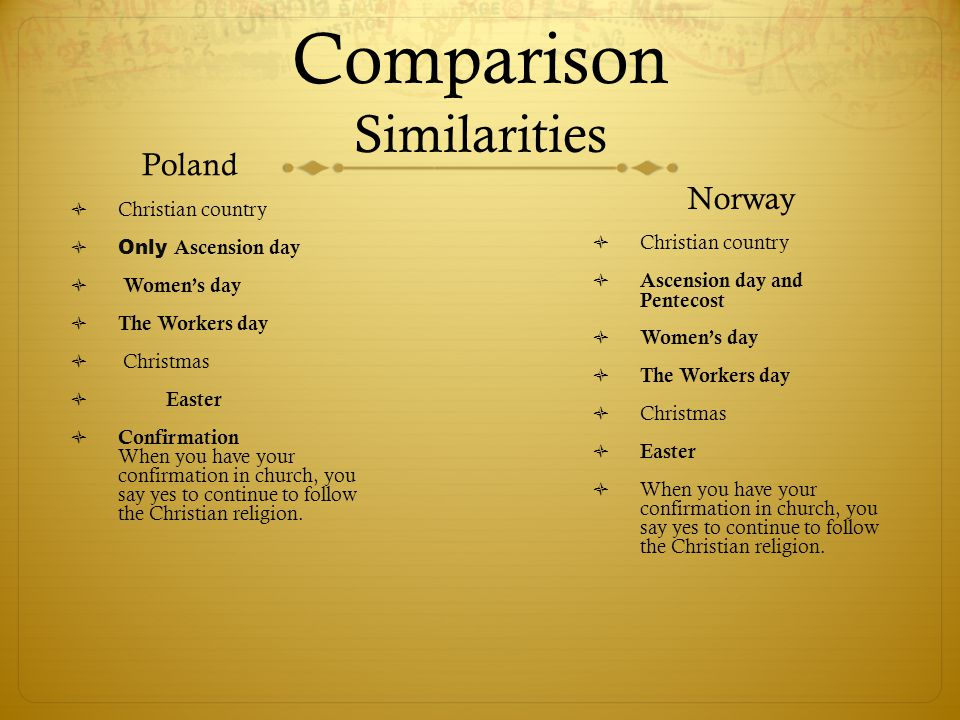 Comparison Similarities Poland  Christian country  Only Ascension day  Women's day  The Workers day  Christmas  Easter  Confirmation When you have your confirmation in church, you say yes to continue to follow the Christian religion.
