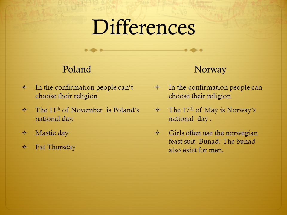 Differences Poland  In the confirmation people can't choose their religion  The 11 th of November is Poland's national day.