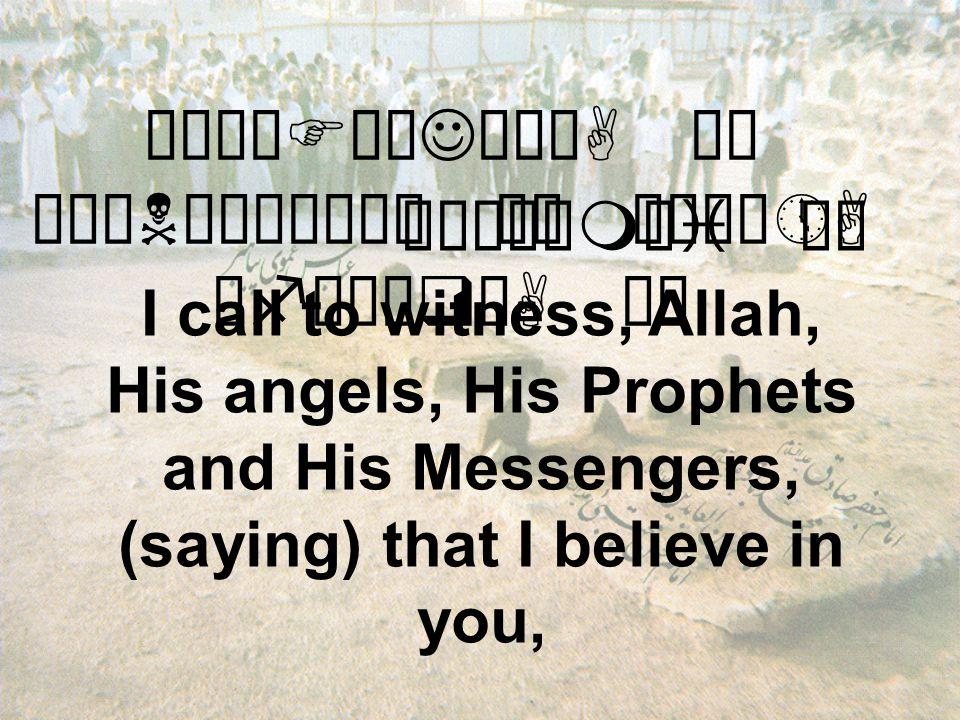 åÉêÖFÎøJæÃòA äË åÉäNò¸êÖÝä¿ äË äÉú¼»A åføÈæqóA äË I call to witness, Allah, His angels, His Prophets and His Messengers, (saying) that I believe in you, åÉò¼åmåi äË