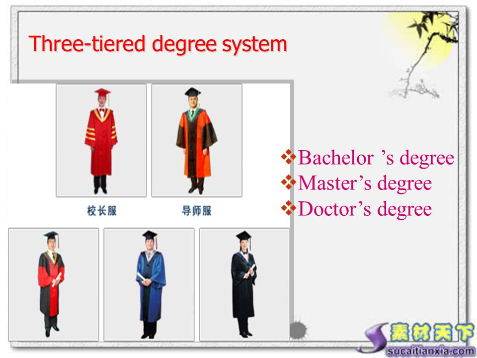  Bachelor 's degree  Master's degree  Doctor's degree Three-tiered degree system