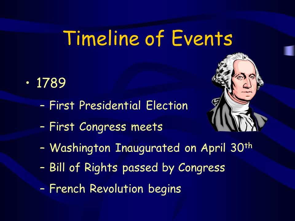 Timeline of Events 1789 –First Presidential Election –First Congress meets –Washington Inaugurated on April 30 th –Bill of Rights passed by Congress –