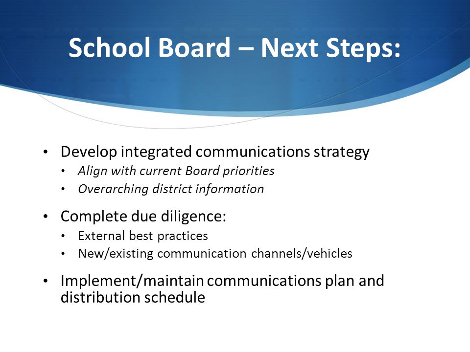 School Board – Next Steps: Develop integrated communications strategy Align with current Board priorities Overarching district information Complete du