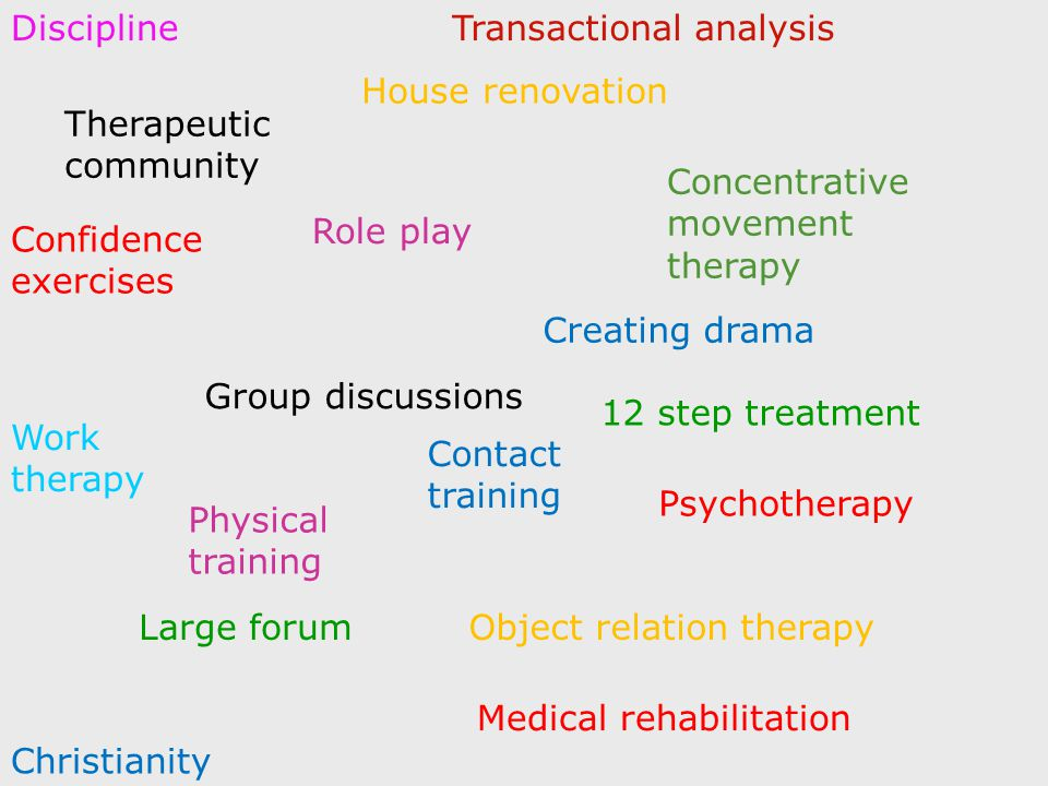 Therapeutic community Group discussions Concentrative movement therapy Psychotherapy Large forum Role play Physical training Creating drama Object relation therapy Confidence exercises Transactional analysis Work therapy Christianity House renovation Medical rehabilitation 12 step treatment Discipline Contact training