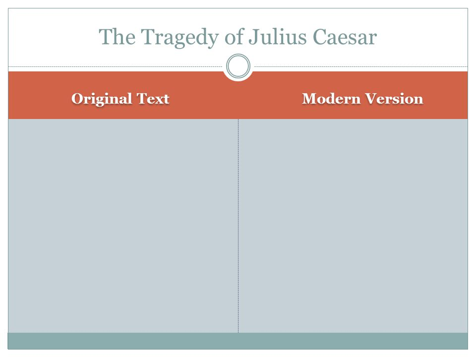 Original Text Modern Version The Tragedy of Julius Caesar