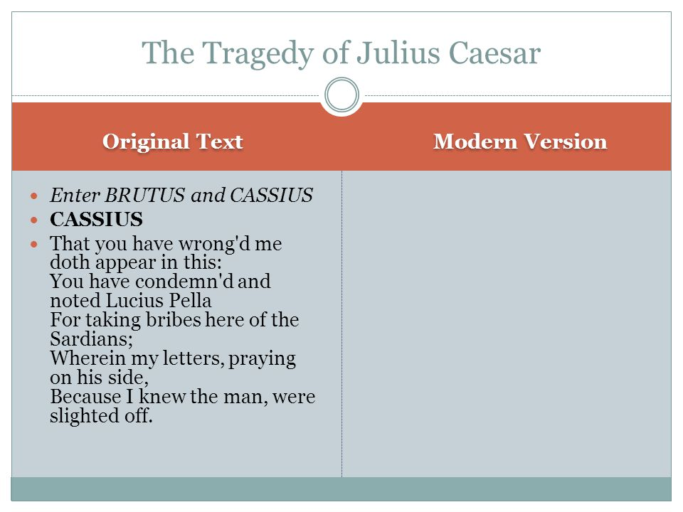 Original Text Modern Version Enter BRUTUS and CASSIUS CASSIUS That you have wrong d me doth appear in this: You have condemn d and noted Lucius Pella For taking bribes here of the Sardians; Wherein my letters, praying on his side, Because I knew the man, were slighted off.