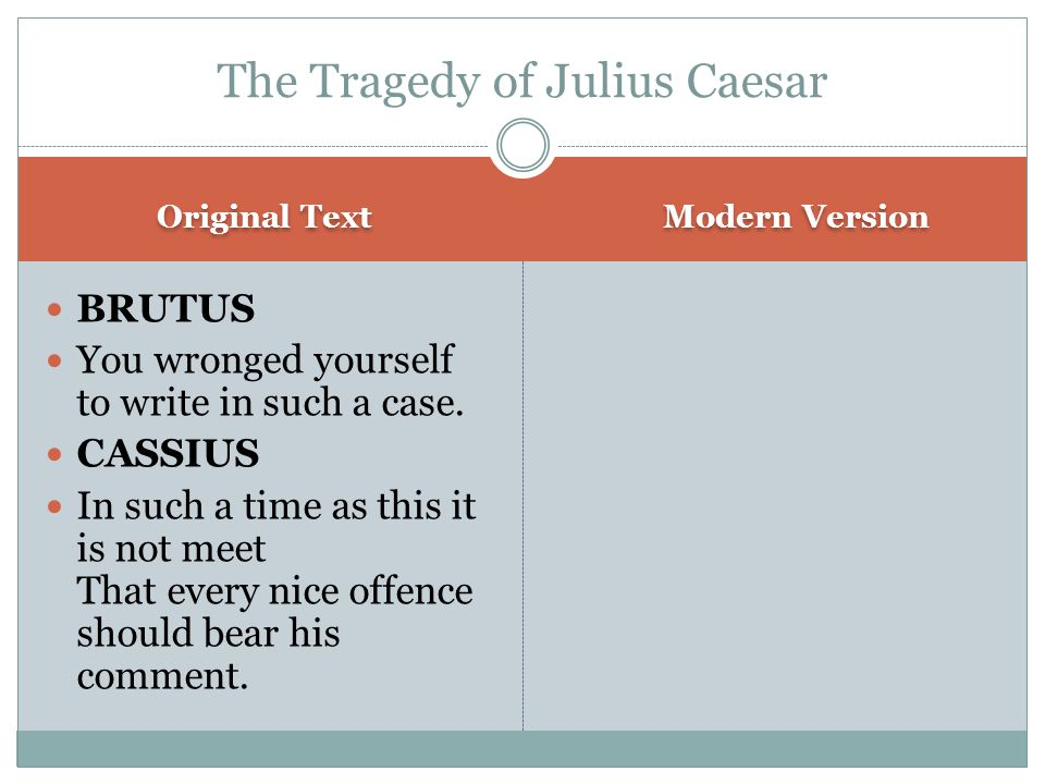 Original Text Modern Version BRUTUS You wronged yourself to write in such a case.