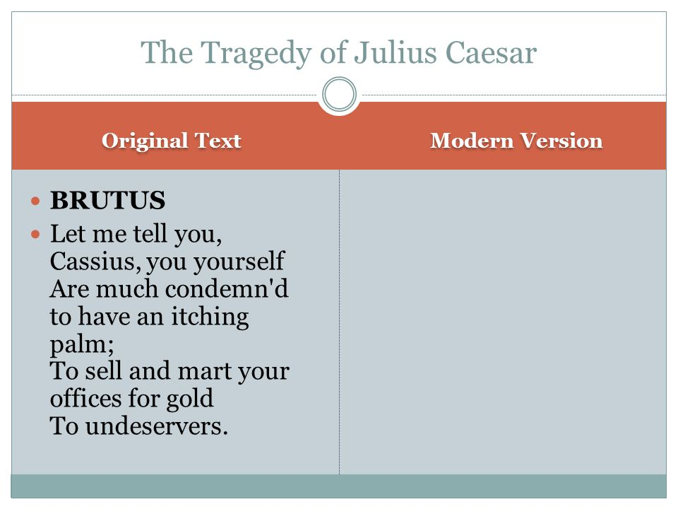 Original Text Modern Version BRUTUS Let me tell you, Cassius, you yourself Are much condemn d to have an itching palm; To sell and mart your offices for gold To undeservers.