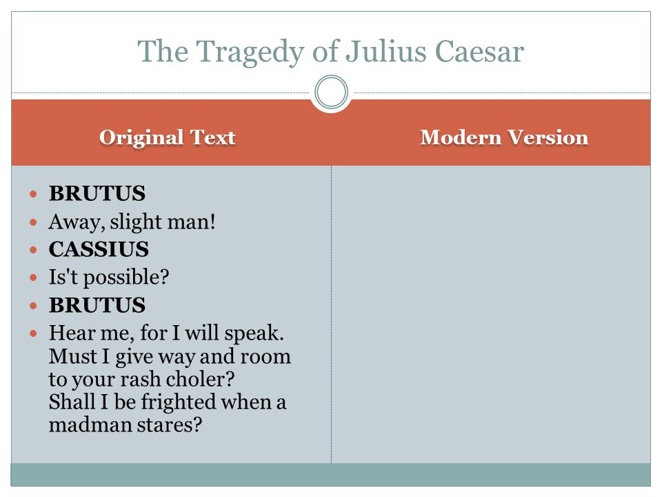Original Text Modern Version BRUTUS Away, slight man.