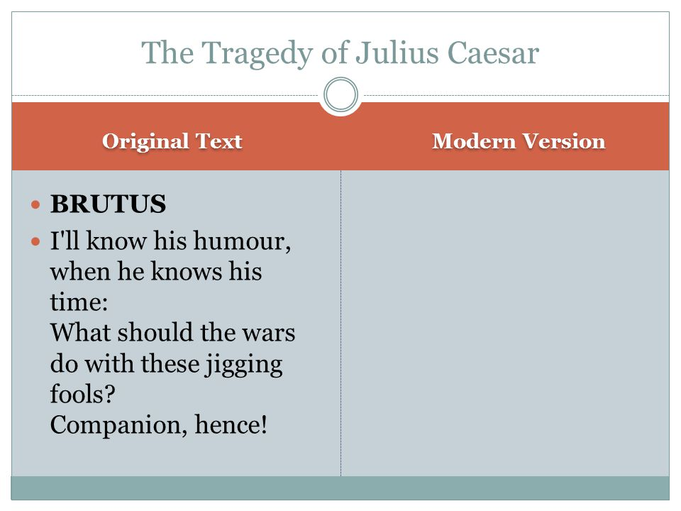Original Text Modern Version BRUTUS I ll know his humour, when he knows his time: What should the wars do with these jigging fools.