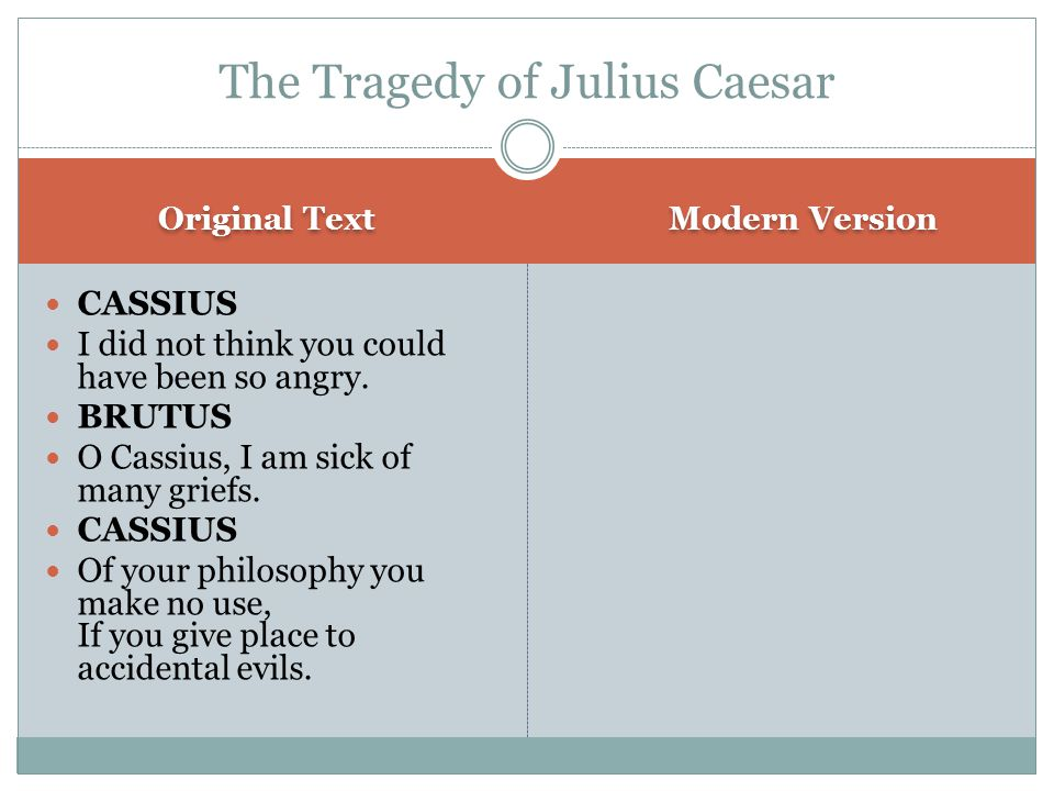 Original Text Modern Version CASSIUS I did not think you could have been so angry.