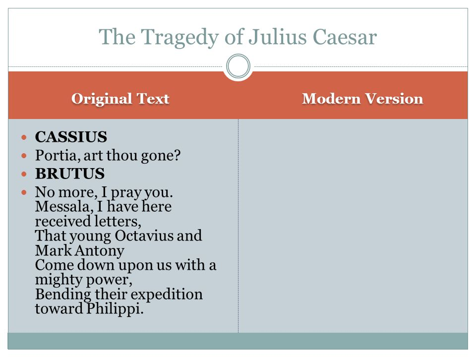 Original Text Modern Version CASSIUS Portia, art thou gone.