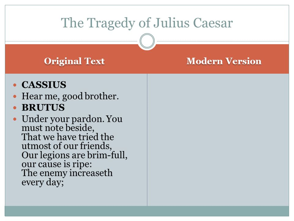 Original Text Modern Version CASSIUS Hear me, good brother.