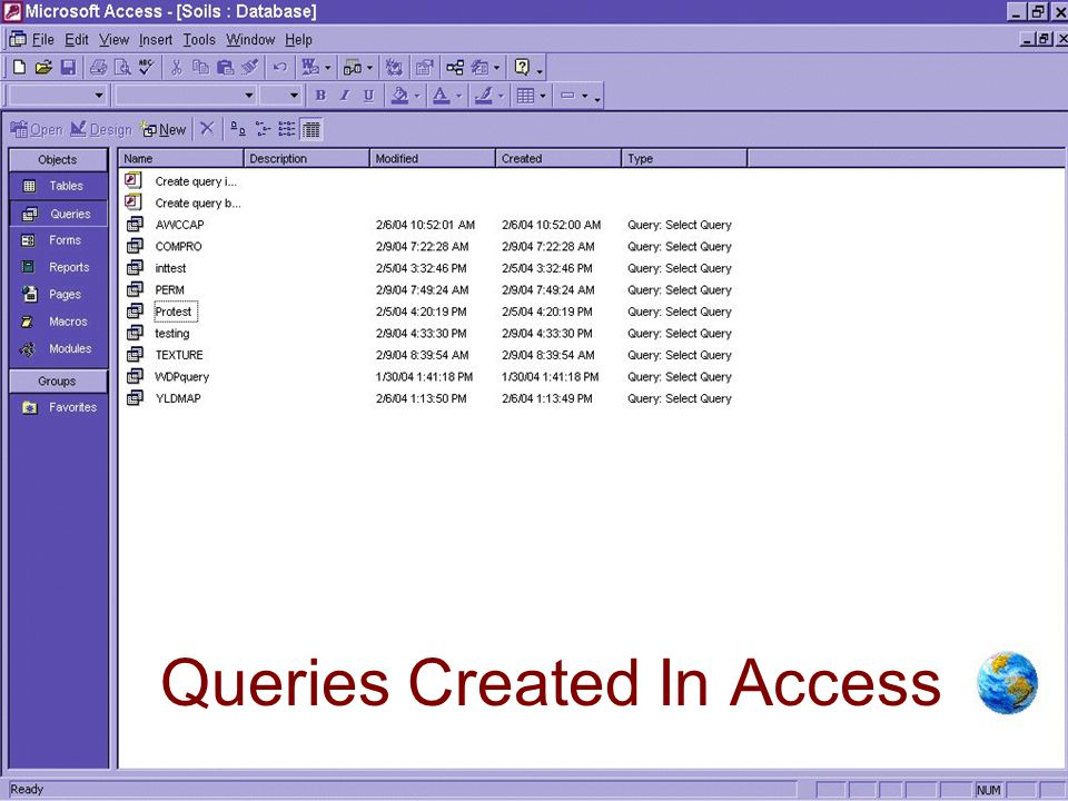 Queries Created In Access