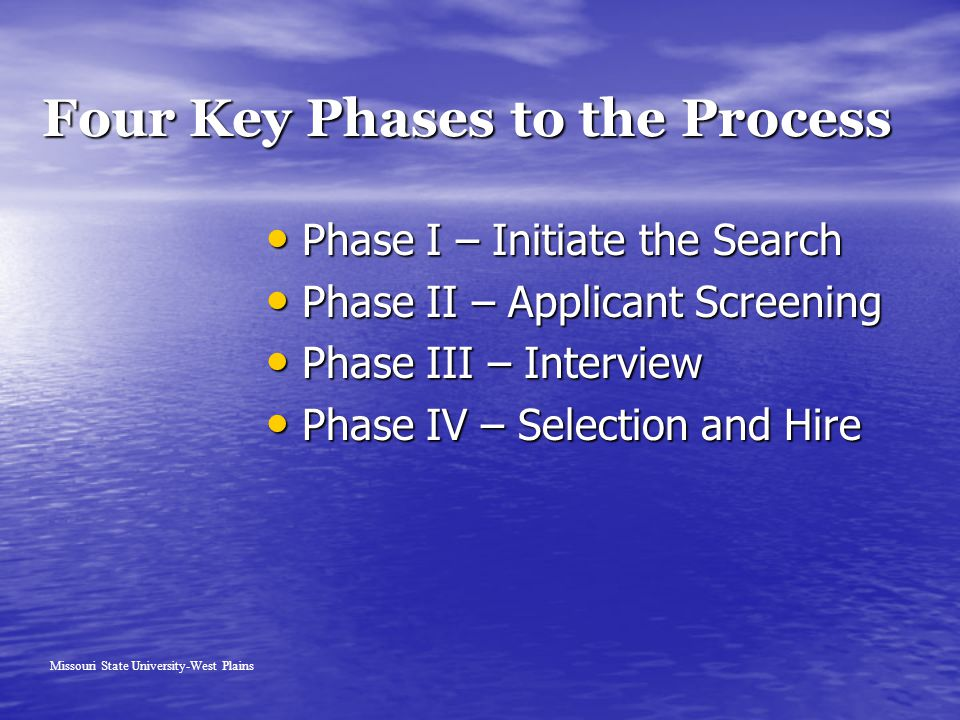 Four Key Phases to the Process Phase I – Initiate the Search Phase I – Initiate the Search Phase II – Applicant Screening Phase II – Applicant Screeni