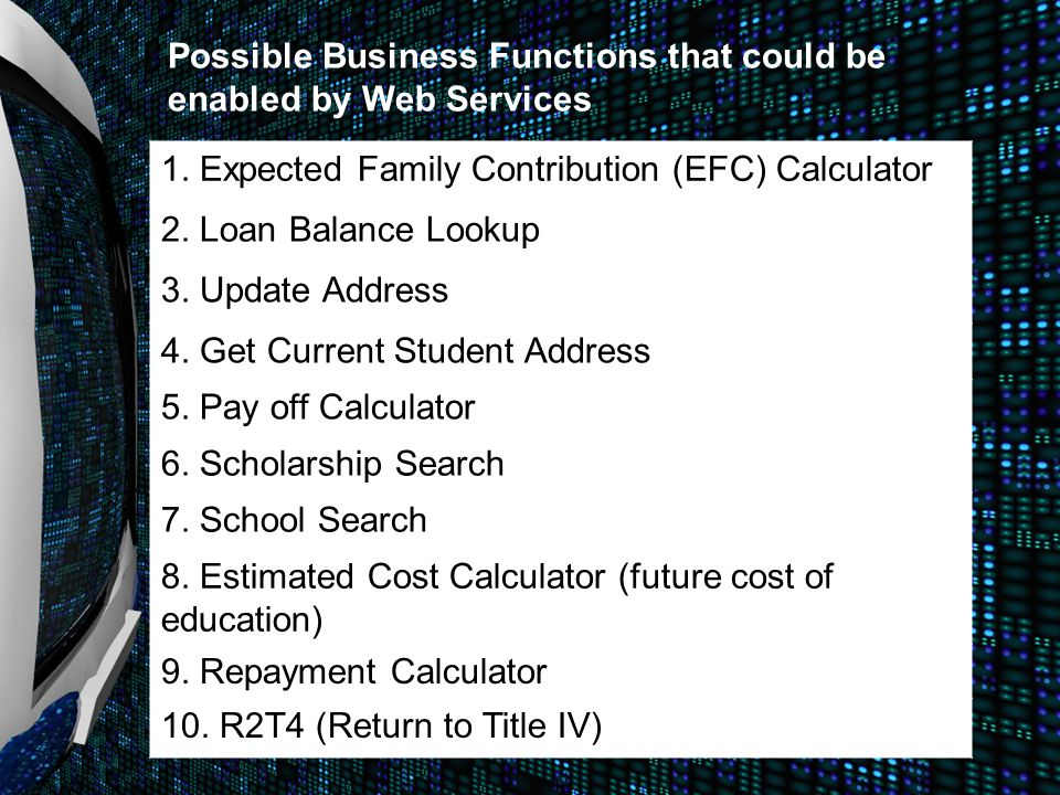 1. Expected Family Contribution (EFC) Calculator 2. Loan Balance Lookup 3. Update Address 4. Get Current Student Address 5. Pay off Calculator 6. Scho