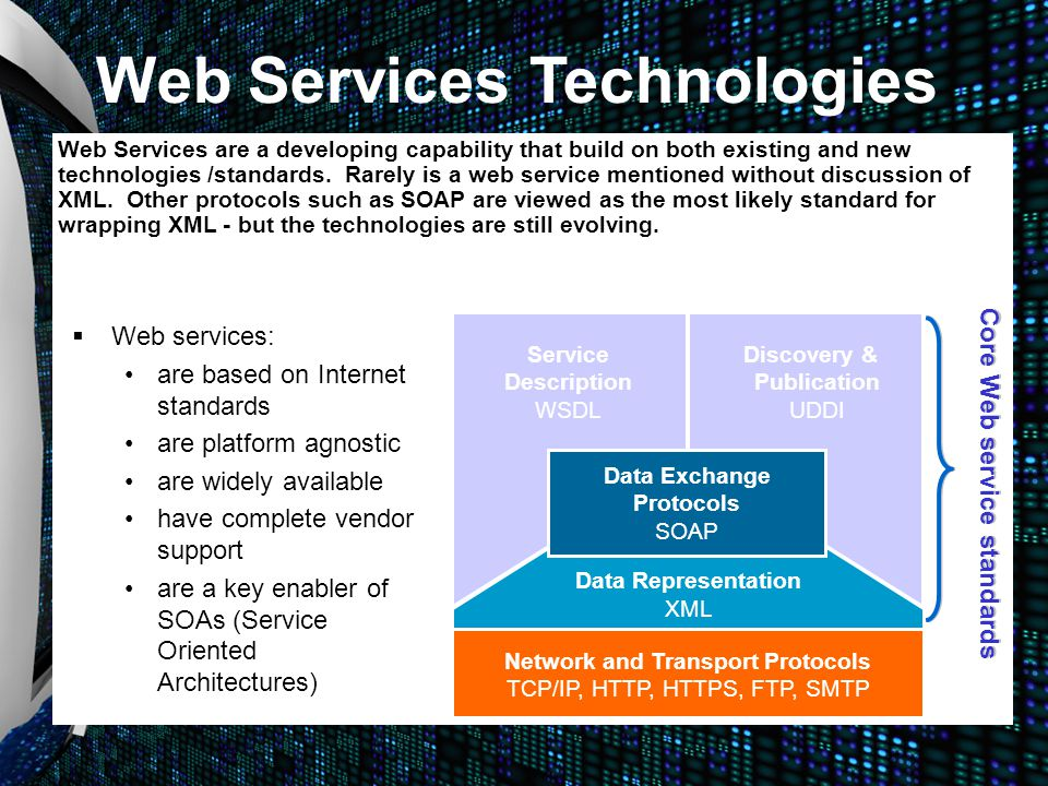   Web services: are based on Internet standards are platform agnostic are widely available have complete vendor support are a key enabler of SOAs (S