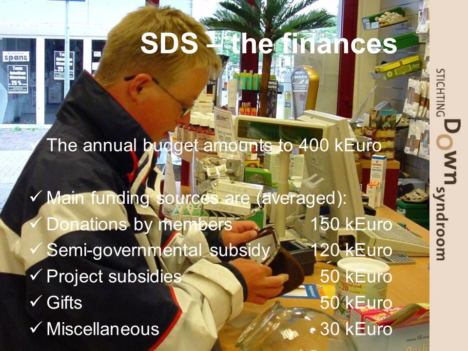 SDS – the finances The annual budget amounts to 400 kEuro Main funding sources are (averaged): Donations by members 150 kEuro Semi-governmental subsidy120 kEuro Project subsidies 50 kEuro Gifts 50 kEuro Miscellaneous 30 kEuro