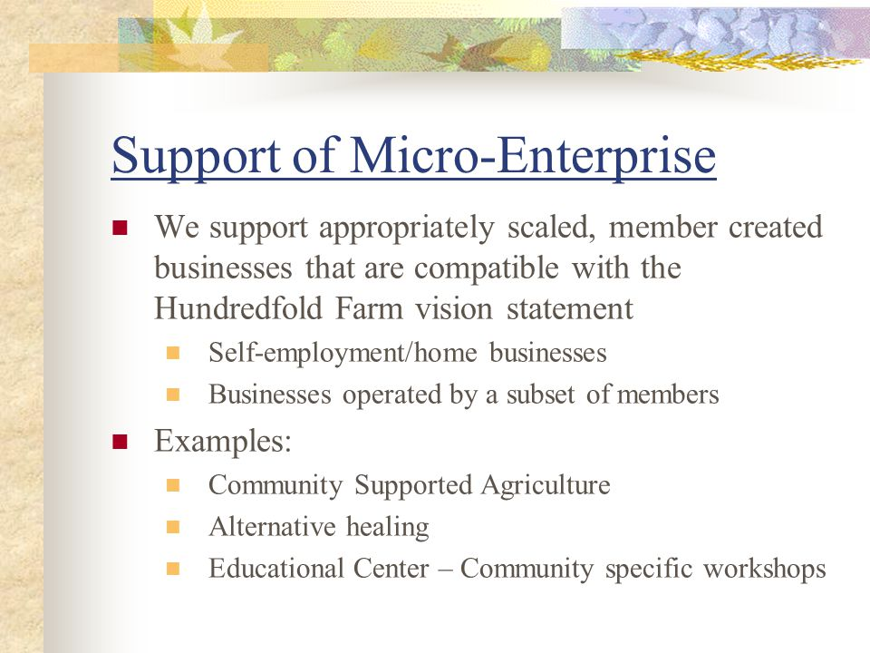 Support of Micro-Enterprise We support appropriately scaled, member created businesses that are compatible with the Hundredfold Farm vision statement Self-employment/home businesses Businesses operated by a subset of members Examples: Community Supported Agriculture Alternative healing Educational Center – Community specific workshops