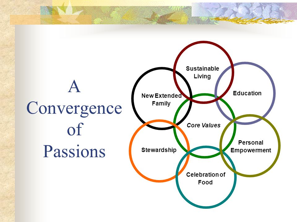 Core Values Sustainable Living Personal Empowerment Stewardship New Extended Family Celebration of Food Education A Convergence of Passions