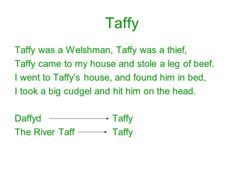 Taffy Taffy was a Welshman, Taffy was a thief, Taffy came to my house and stole a leg of beef.