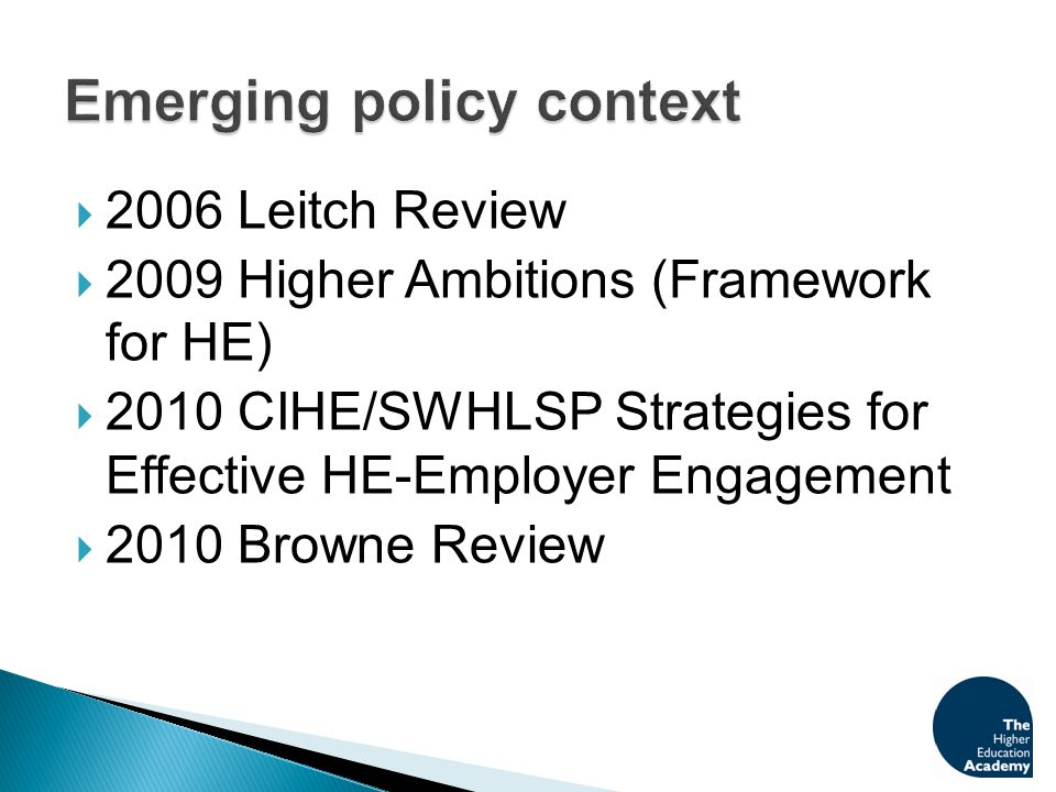  HEFCE/QAA Joint Task Force 2007  Implementation of recommendations of Report of 2008  Joint Academy/QAA /fdf partnership work  Highlighting good practice on managing quality of provision disseminated across the sector  Support from QAA 'Employer responsive provision survey: a reflective report'  Development of 'Demonstrator' projects (highlighting key learning emerging from the projects)
