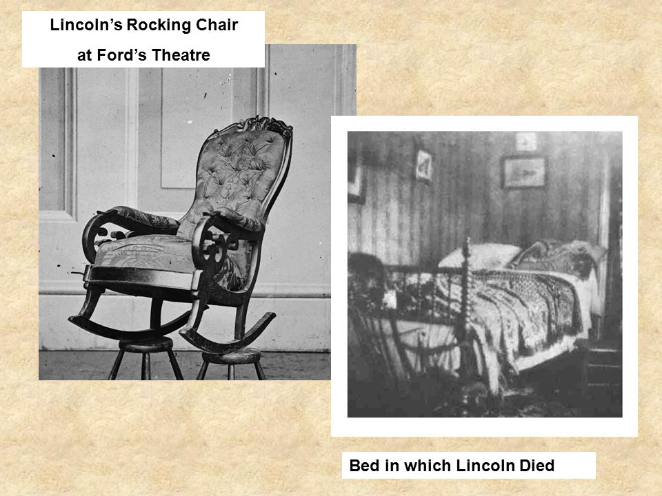 Lincoln's Rocking Chair at Ford's Theatre Bed in which Lincoln Died