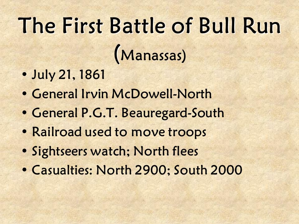 The First Battle of Bull Run ( The First Battle of Bull Run ( Manassas) July 21, 1861 General Irvin McDowell-North General P.G.T. Beauregard-South Rai