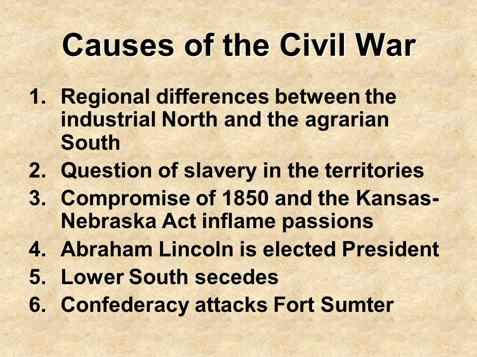 Causes of the Civil War 1.Regional differences between the industrial North and the agrarian South 2.Question of slavery in the territories 3.Compromi