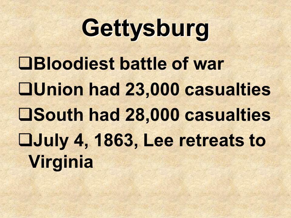 Gettysburg  Bloodiest battle of war  Union had 23,000 casualties  South had 28,000 casualties  July 4, 1863, Lee retreats to Virginia