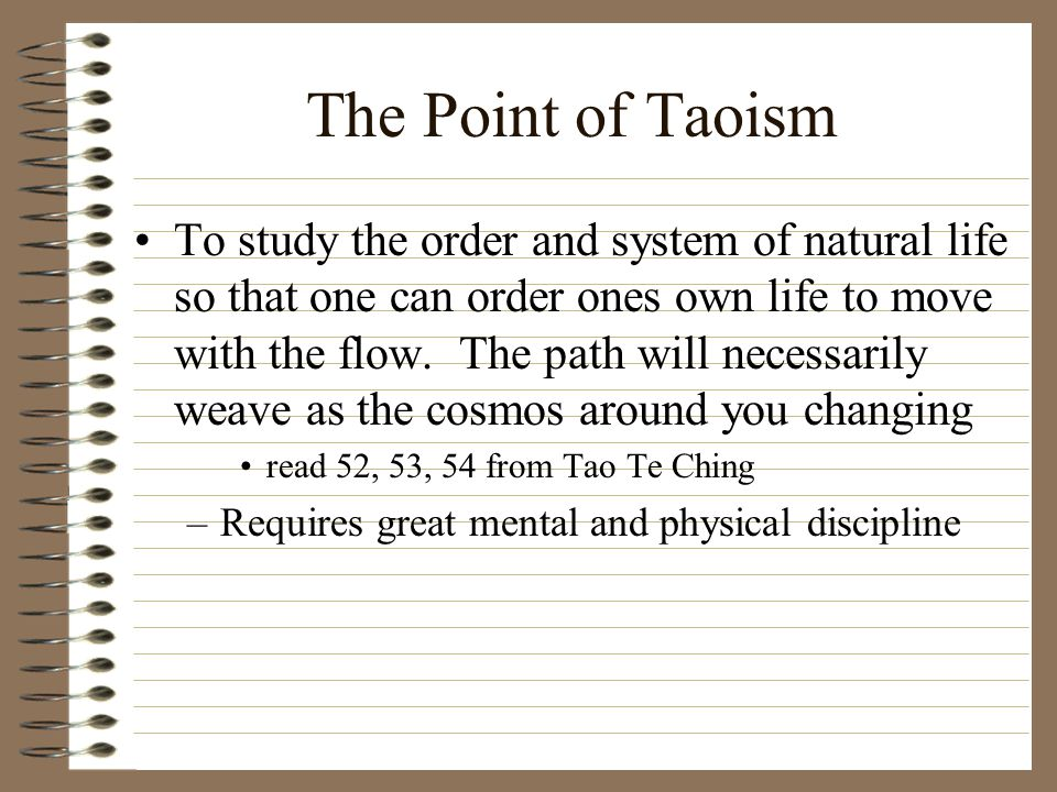 The Point of Taoism To study the order and system of natural life so that one can order ones own life to move with the flow.