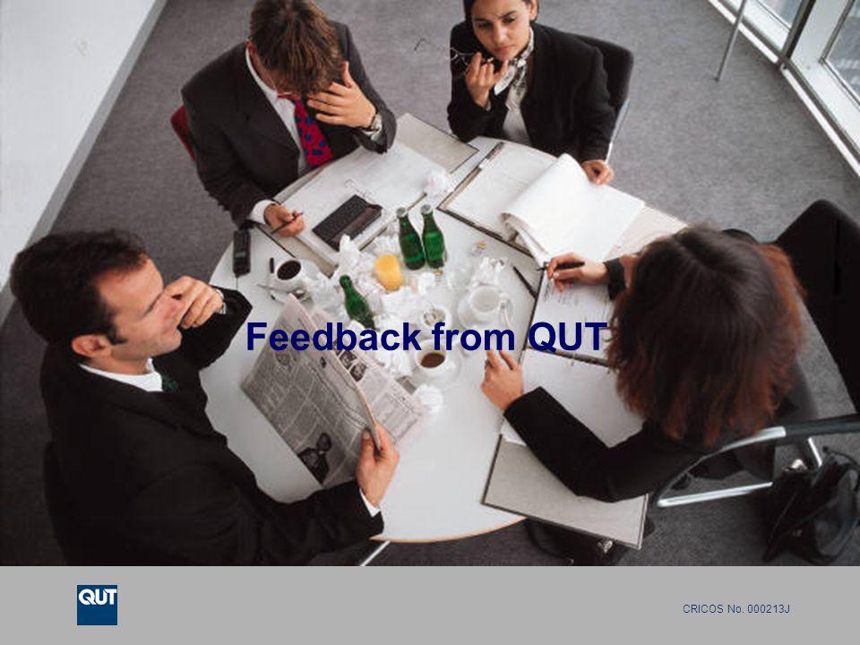 CRICOS No. 000213J Feedback from QUT