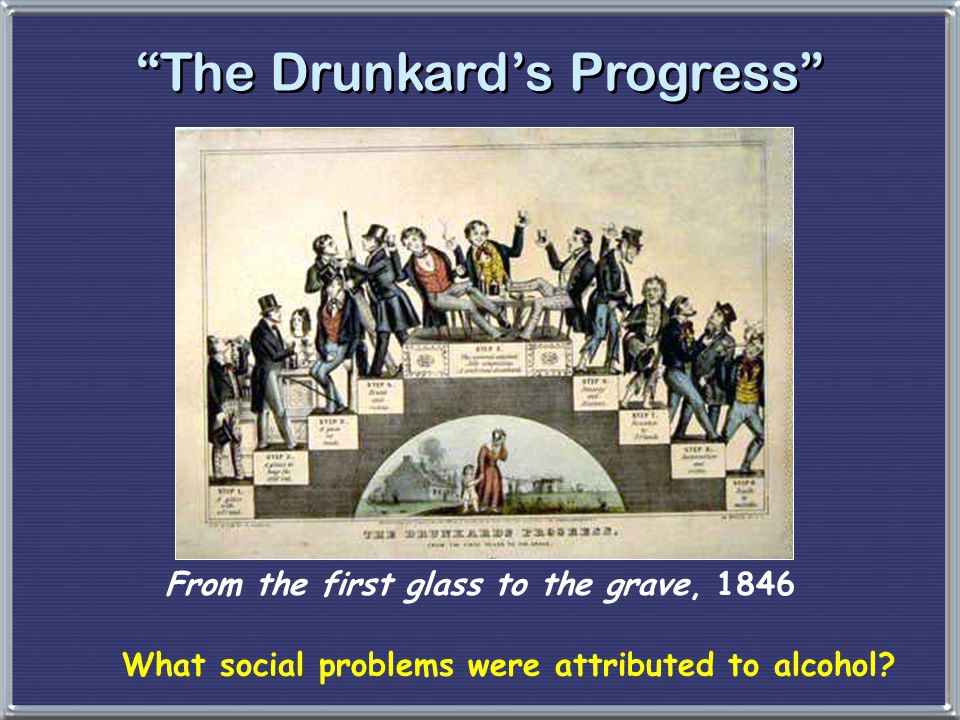"""""""The Drunkard's Progress"""" From the first glass to the grave, 1846 What social problems were attributed to alcohol?"""