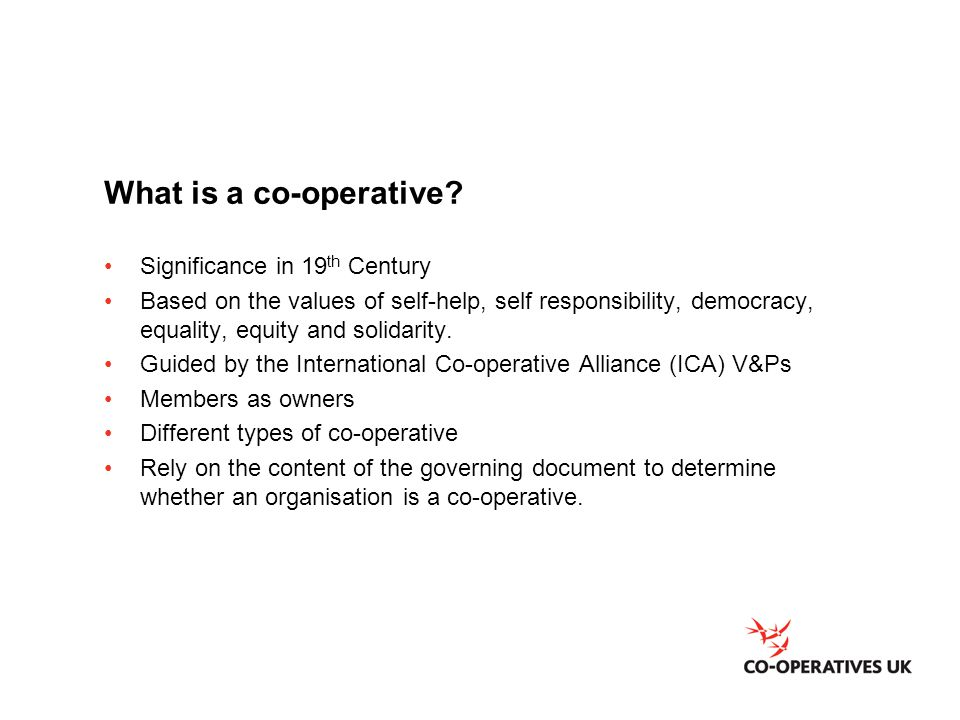 What is a co-operative.