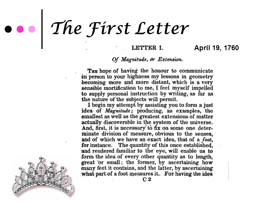 The First Letter April 19, 1760
