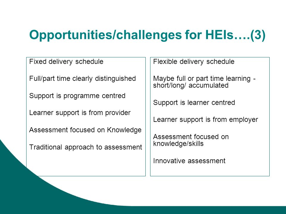Opportunities/challenges for HEIs….(3) Fixed delivery schedule Full/part time clearly distinguished Support is programme centred Learner support is from provider Assessment focused on Knowledge Traditional approach to assessment Flexible delivery schedule Maybe full or part time learning - short/long/ accumulated Support is learner centred Learner support is from employer Assessment focused on knowledge/skills Innovative assessment