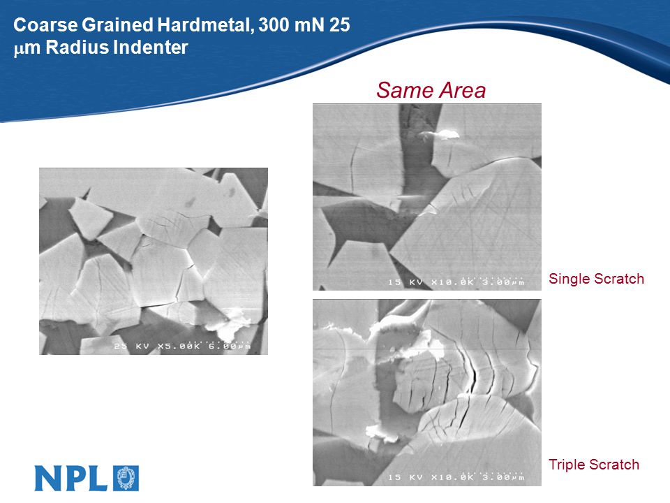 Coarse Grained Hardmetal, 300 mN 25  m Radius Indenter Single Scratch Triple Scratch Same Area