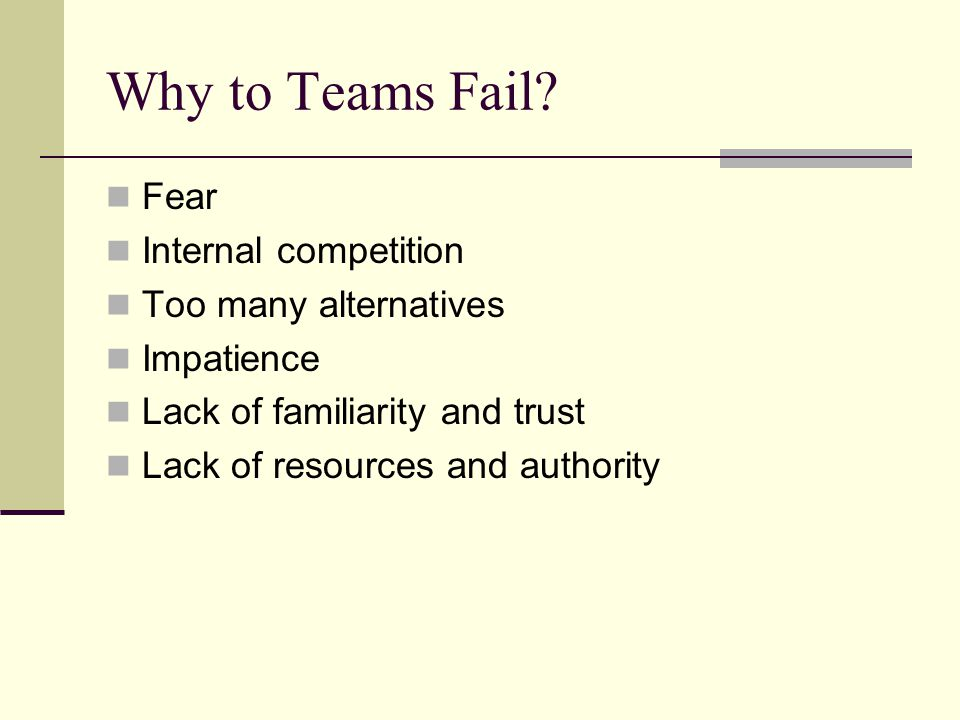 Why to Teams Fail.