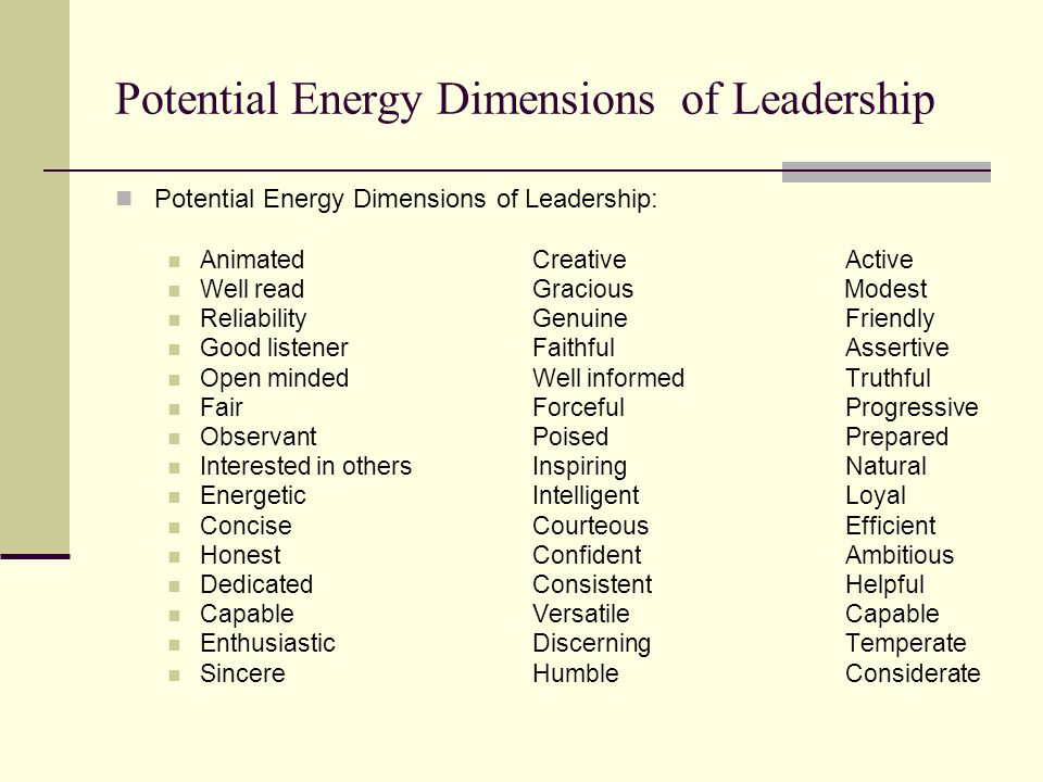 Potential Energy Dimensions of Leadership Potential Energy Dimensions of Leadership: AnimatedCreativeActive Well readGracious Modest ReliabilityGenuineFriendly Good listenerFaithfulAssertive Open mindedWell informedTruthful FairForcefulProgressive ObservantPoisedPrepared Interested in othersInspiringNatural EnergeticIntelligentLoyal ConciseCourteousEfficient HonestConfidentAmbitious DedicatedConsistentHelpful CapableVersatileCapable EnthusiasticDiscerningTemperate SincereHumbleConsiderate
