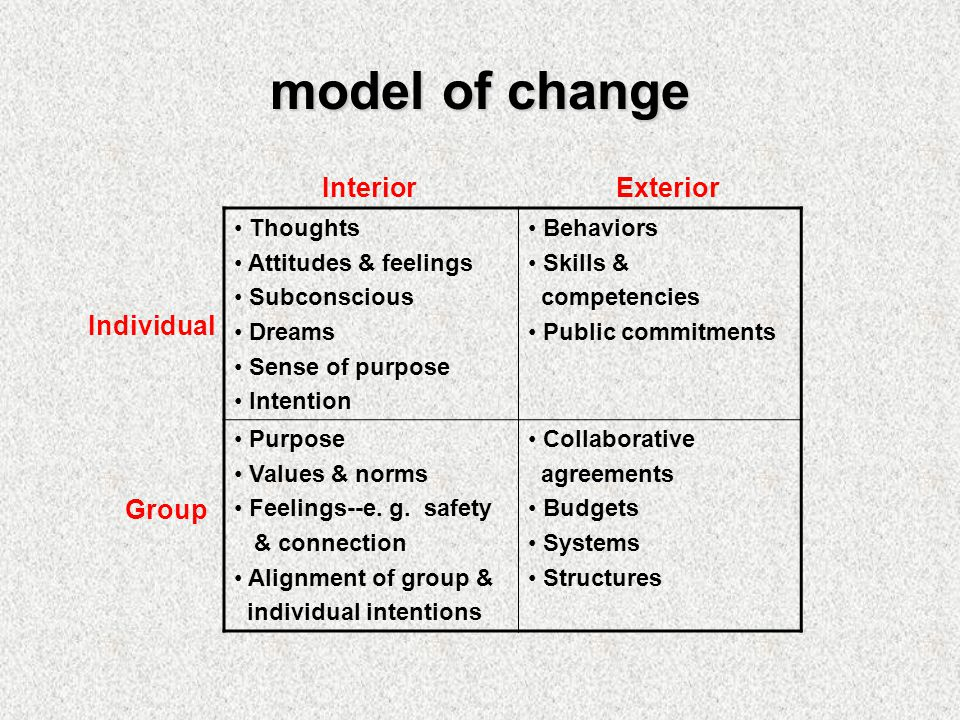 model of change Thoughts Attitudes & feelings Subconscious Dreams Sense of purpose Intention Behaviors Skills & competencies Public commitments Purpose Values & norms Feelings--e.