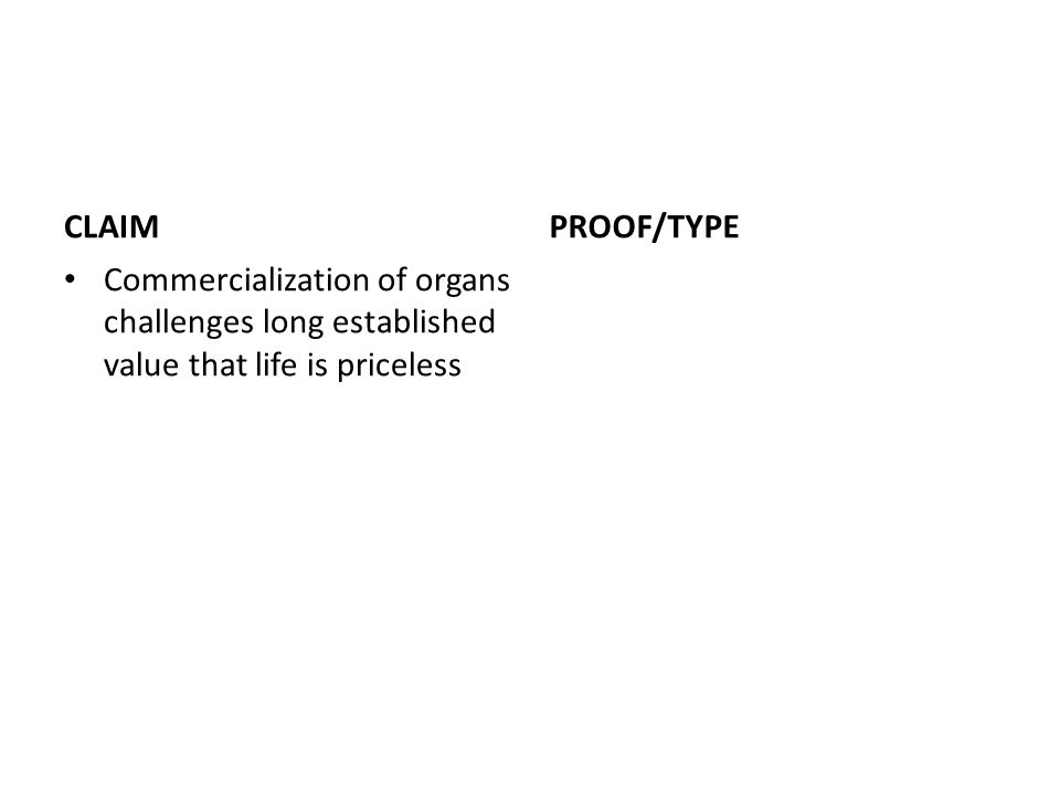 CLAIM Commercialization of organs challenges long established value that life is priceless PROOF/TYPE