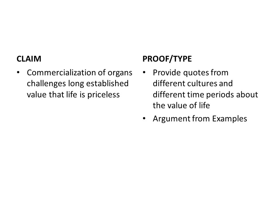 CLAIM Commercialization of organs challenges long established value that life is priceless PROOF/TYPE Provide quotes from different cultures and different time periods about the value of life Argument from Examples