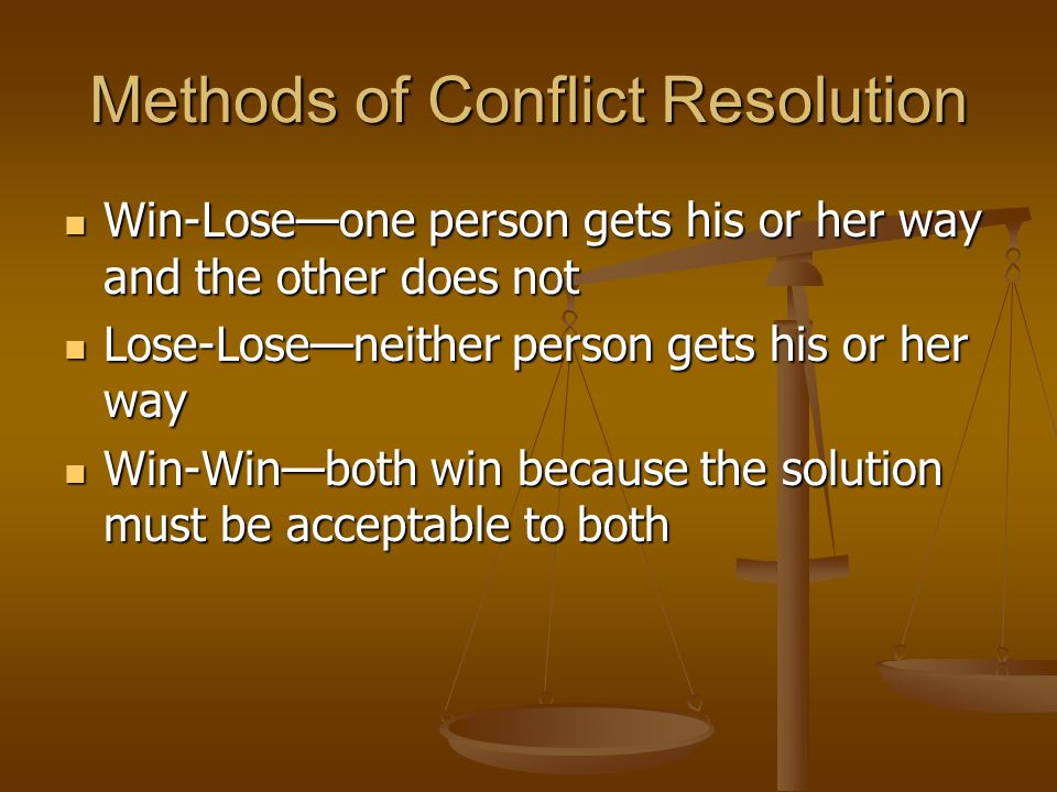 Methods of Conflict Resolution Win-Lose—one person gets his or her way and the other does not Win-Lose—one person gets his or her way and the other does not Lose-Lose—neither person gets his or her way Lose-Lose—neither person gets his or her way Win-Win—both win because the solution must be acceptable to both Win-Win—both win because the solution must be acceptable to both