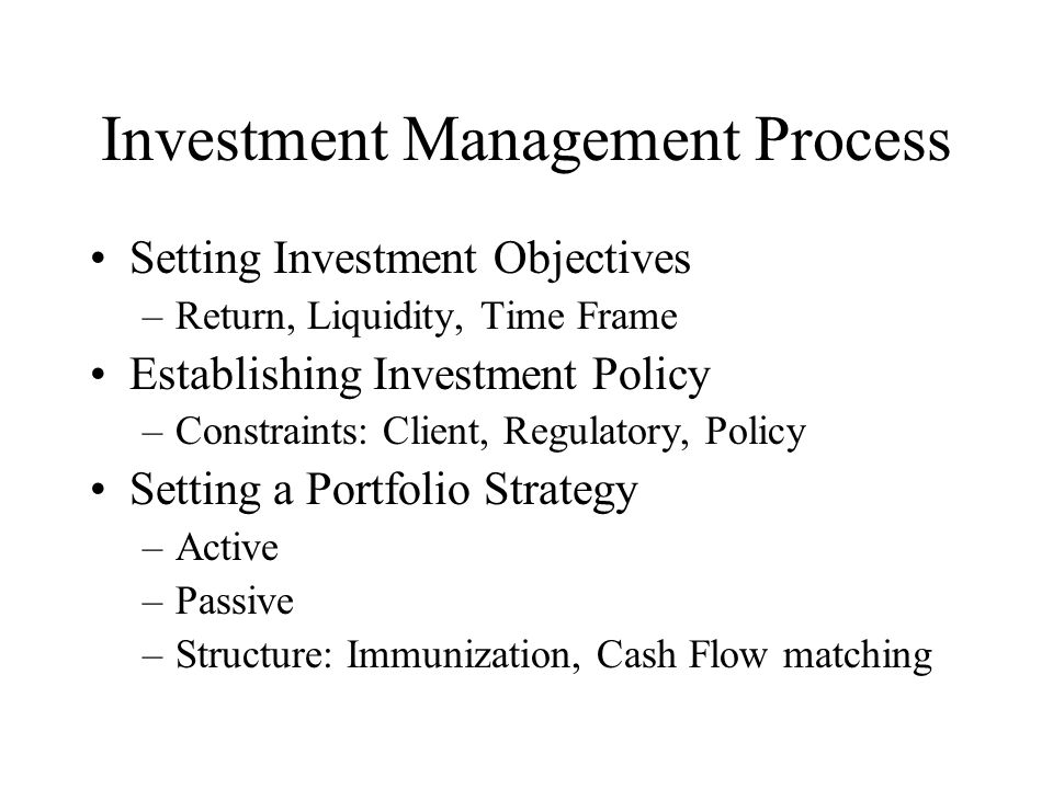 Investment Management Process Setting Investment Objectives –Return, Liquidity, Time Frame Establishing Investment Policy –Constraints: Client, Regulatory, Policy Setting a Portfolio Strategy –Active –Passive –Structure: Immunization, Cash Flow matching