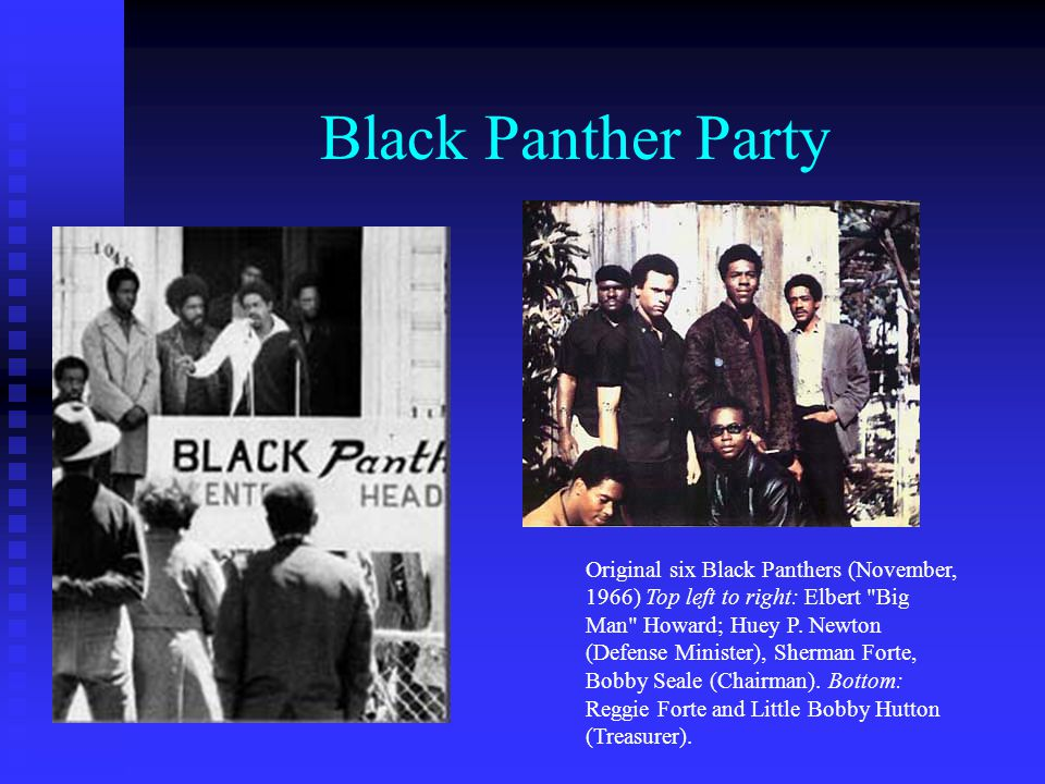 Black Panther Party Original six Black Panthers (November, 1966) Top left to right: Elbert