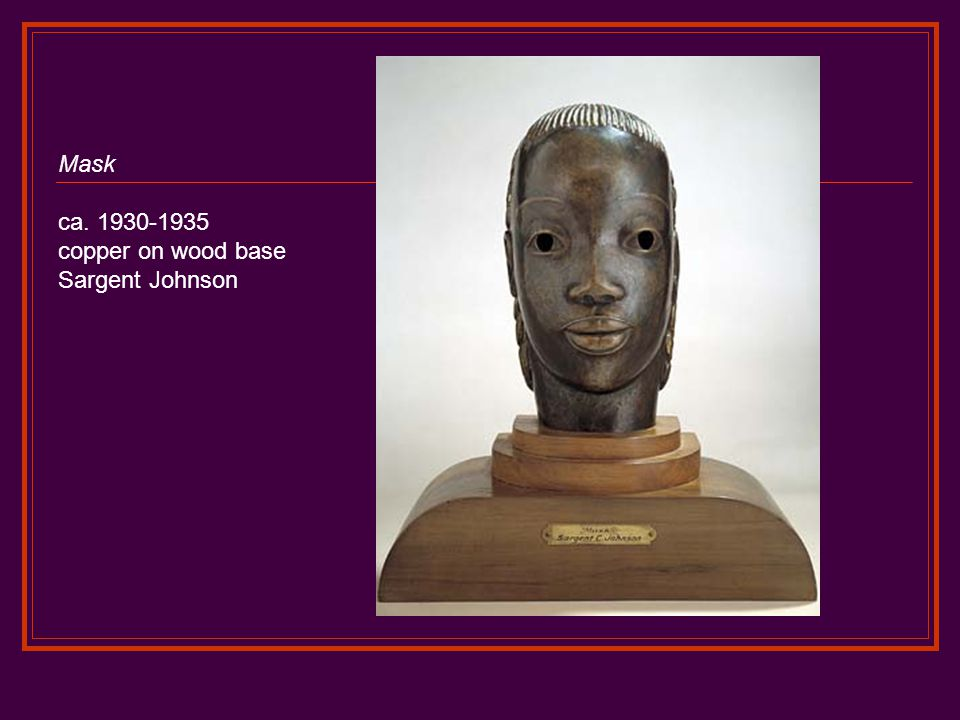 Mask ca. 1930-1935 copper on wood base Sargent Johnson