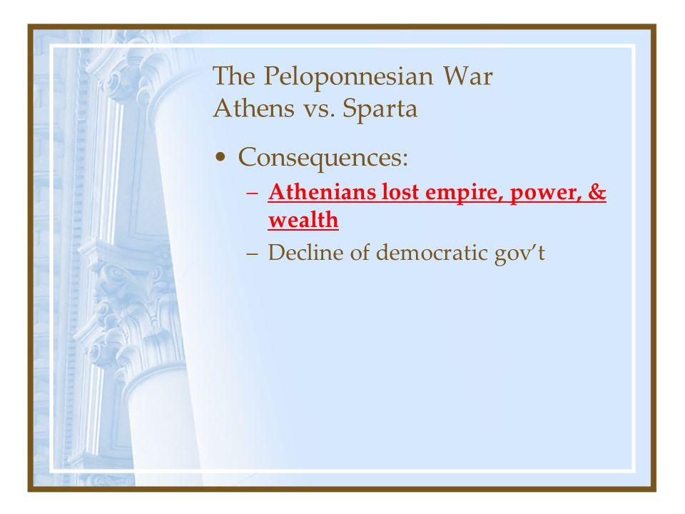 The Peloponnesian War Athens vs. Sparta Consequences: –Athenians lost empire, power, & wealth –Decline of democratic gov't