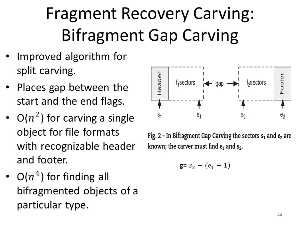 Fragment Recovery Carving: Bifragment Gap Carving 44